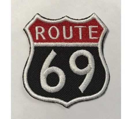 Parche route 69 rojo y negro